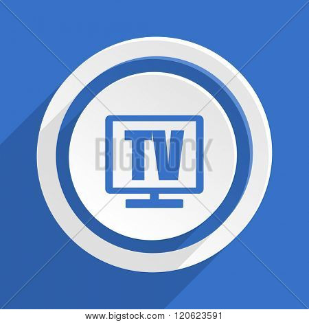 tv blue flat design modern icon