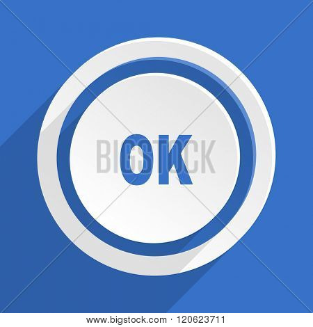 ok blue flat design modern icon