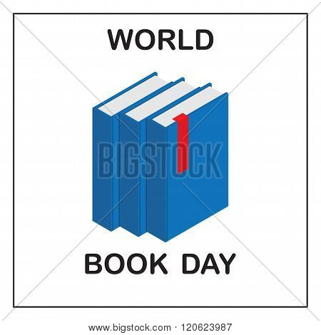 World Book Day. Image of three blue books with a red tab.