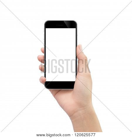 Hand Holding Black Phone Isolated On White Clipping Path Inside