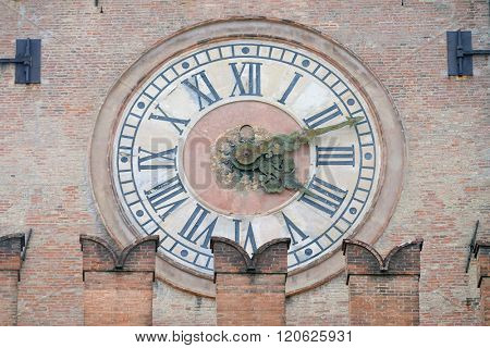 BOLOGNA, ITALY - JUNE 04: Old Clock from Palazzo d'Accursio (Palazzo Comunale)  in Bologna, Italy, on June 04, 2015;