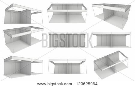 Trade Show Booth White and Blank Set. Blank Indoor Exhibition with Work Paths. 3d render isolated on white background. High Resolution Ad Template for your Expo design.