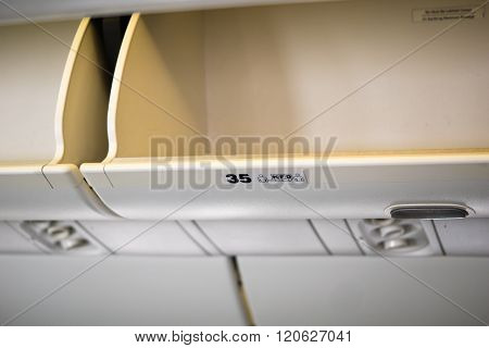 Overhead luggage compartment of airplane