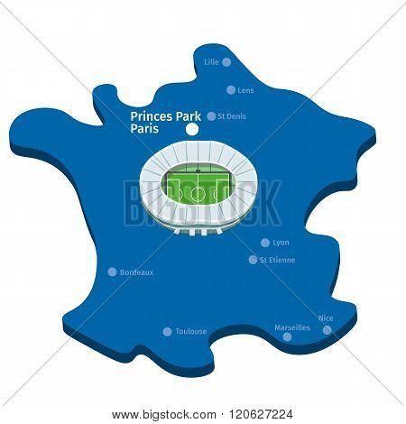 Princes Park Paris. Euro 2016 Vector Clipart