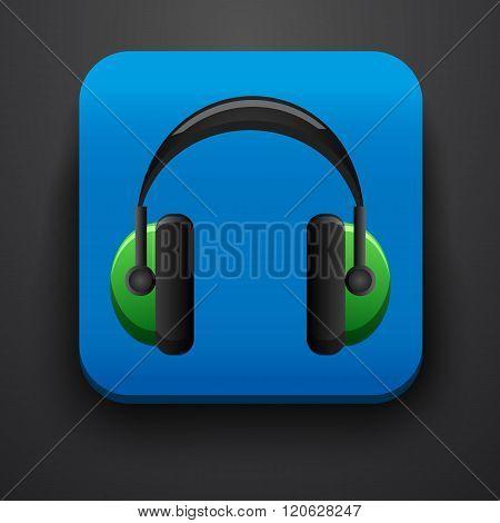 Headphone symbol icon on blue