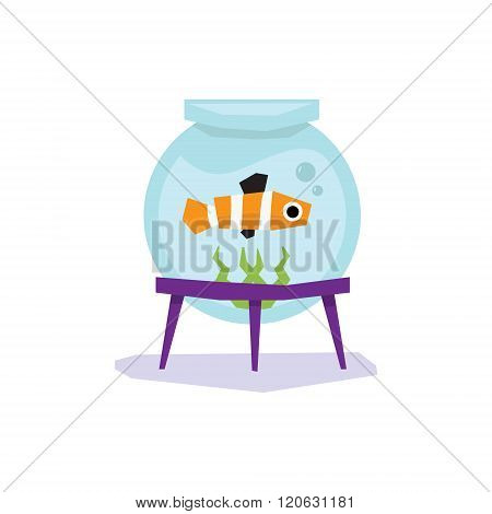 Goldfish in Aquarium, Vector Illustration