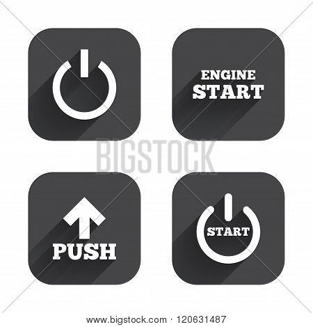 Power icons. Start engine symbol. Push arrow.