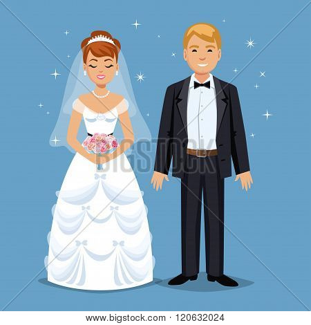 Cute Bride And Groom, Wedding Party Set Illustration. Cartoon Wedding People Couple. Vector