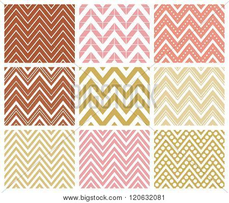 Set of 9 chevron seamless patterns with zigzags. Can be used for wallpapers pattern fills website backgrounds book design textile prints etc. EPS8 vector illustration includes Pattern Swatches.