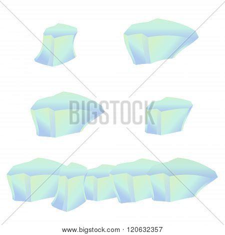 Icy cliff, iceberg, isolated ice. Cartoon style.