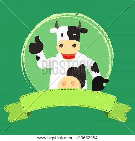 Happy Cow And Ribbon