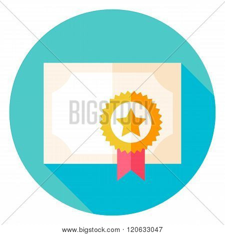 Paper Diploma With Award Circle Icon