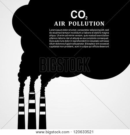 Air pollution. Factory or power plant emitting smoke. Smoking factory concept in Flat style. Vector