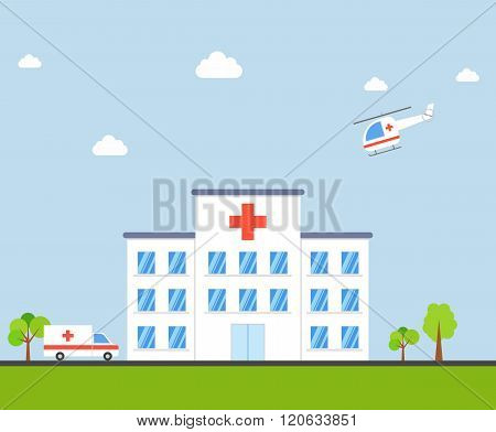 City Hospital building with ambulance and helicopter in flat design style. Clinic Vector Illustratio
