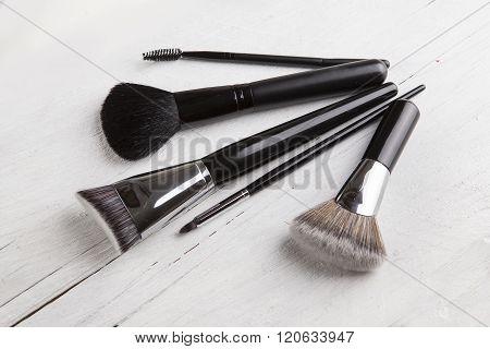 Make Up Brush Powder Blusher Isolated On White Background