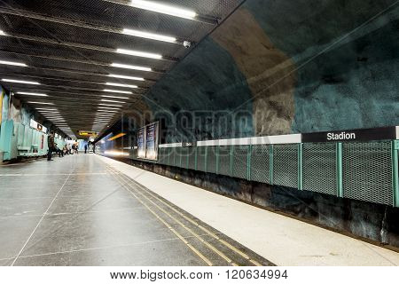 Stockholm. The interior and the platform of station