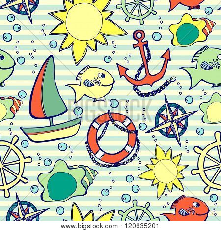 Kids seamless pattern with sea elements on striped background