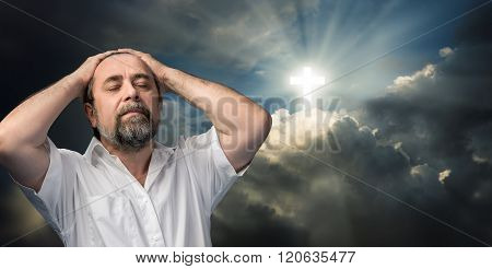 Elderly Man Thinking About Faith And God.