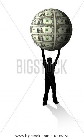 Businessman Holding Money Globe