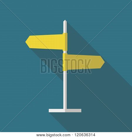 Road sign flat icon. Signpost icon in flat style. Blank template for navigational text. EPS10 clean vector illustration.