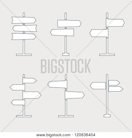 Road sign thin line icons collection. Signpost icons in outline style. Blank template for navigational text. EPS8 clean vector illustration.