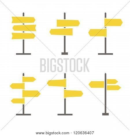 Set of 6 road signs flat icons. Collection of signpost icons in flat style. Blank templates for navigational text. EPS8 clean vector illustration.