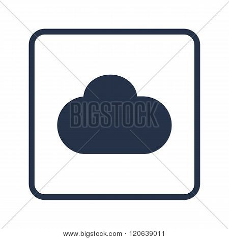 Cloud Icon, On White Background, Rounded Rectangle Border, Blue Outline
