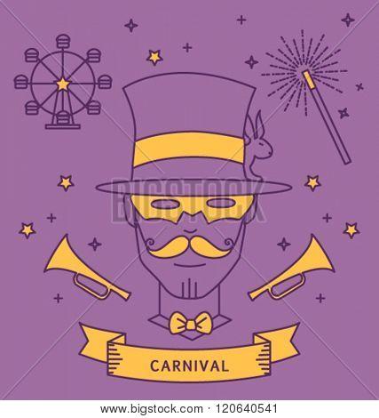 MAGICIAN CARNIVAL COSTUME OUTFIT. Party portrait, line art, monoline style. Editable vector illustration file.