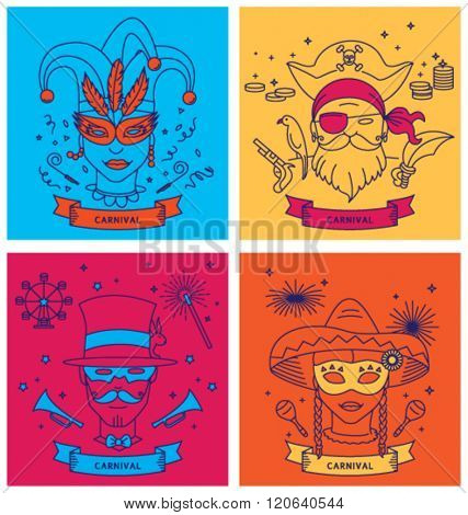 SET OF CARNIVAL CHARACTERS IN MASKS / COSTUMES. Line art, outline style. Editable vector illustration file.