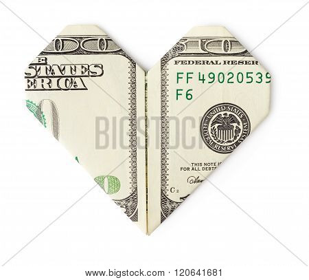 One Hundred Dollars Folded Into Heart Isolated