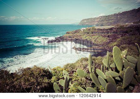 Beach El Bollullo Black Brown Sand And Aqua Water Near Puerto De La Cruz