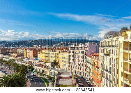 Nice, France - March 3, 2016: View of streets and landmarks. Villefranche-sur-Mer Nice Cote d'Azur French Riviera.