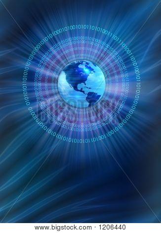 Glowing Binary Earth Globe - Blue Background