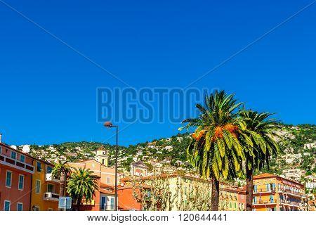 Villefranche-sur-Mer, France - March 3, 2016: View of beautiful landscape with Mediterranean luxury resort. Villefranche-sur-Mer Nice Cote d'Azur French Riviera.