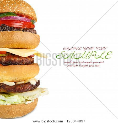 Tasty big hamburger isolated at white background