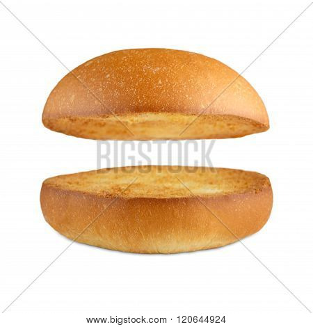 Hamburger burger empty bun isolated at white