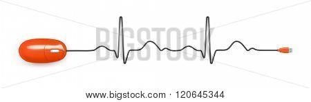 An image of an electrocardiogram with a computer mouse