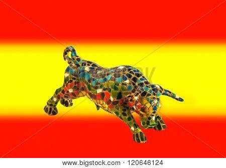 Miniature Mosaic Figure Of Bull On Background Of Colors Of Spanish Flag.