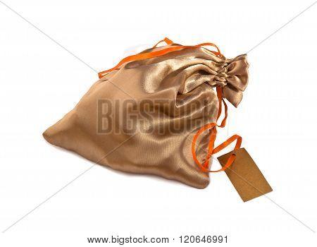 Silk Sack For Gift On White.
