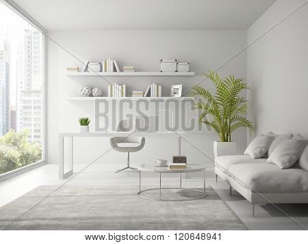 Interior of modern design white office 3D rendering
