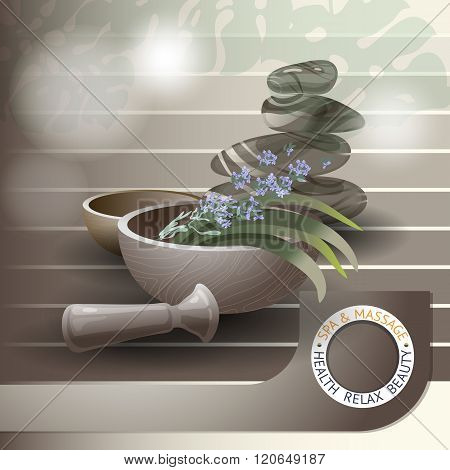 Vector illustration with  spa accessories pounders, pestle, lavender and stones.