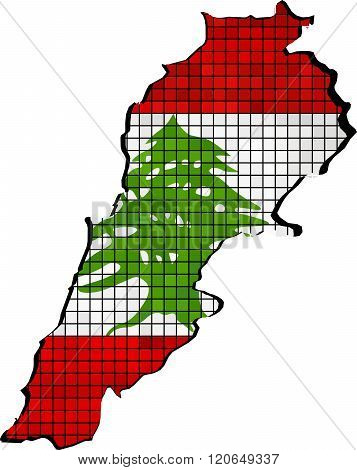 Lebanon Map With Flag Inside.eps