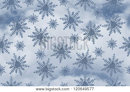 Blue Snowflake Pattern Repeat Background