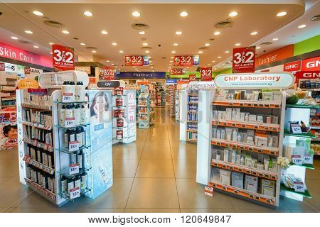 SINGAPORE - NOVEMBER 08, 2015: interior of cosmetics store in The Shoppes at Marina Bay Sands. The Shoppes at Marina Bay Sands is one of Singapore's largest luxury shopping malls