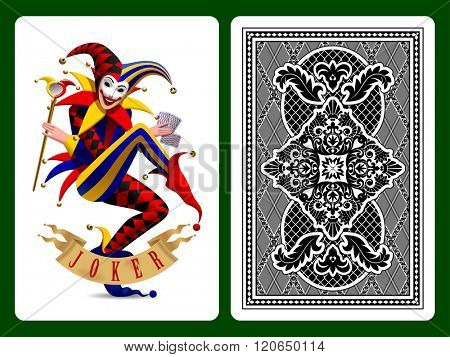 Joker playing card and black backside background. Original design