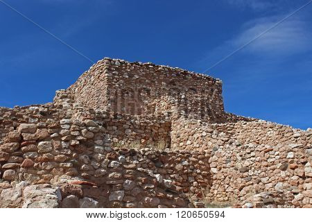 Hilltop view of Arizona Indian pueblo ruins