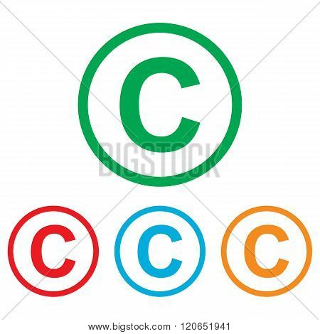 Copyright sign. Colorfull set