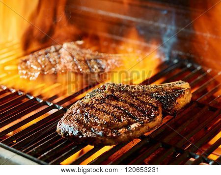ribeye steak barbecue on the grill