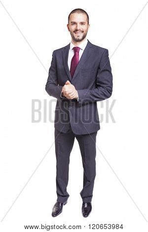 Full body portrait of smiling business man, isolated on white background