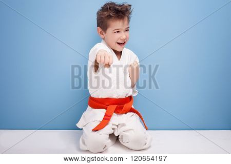 Boy In Karate Costume.
